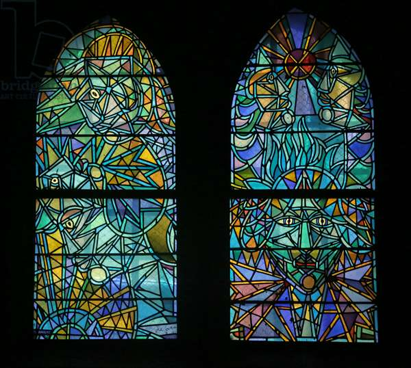 Detail from a Window in the North Chapel evoking Cocteau (stained glass)