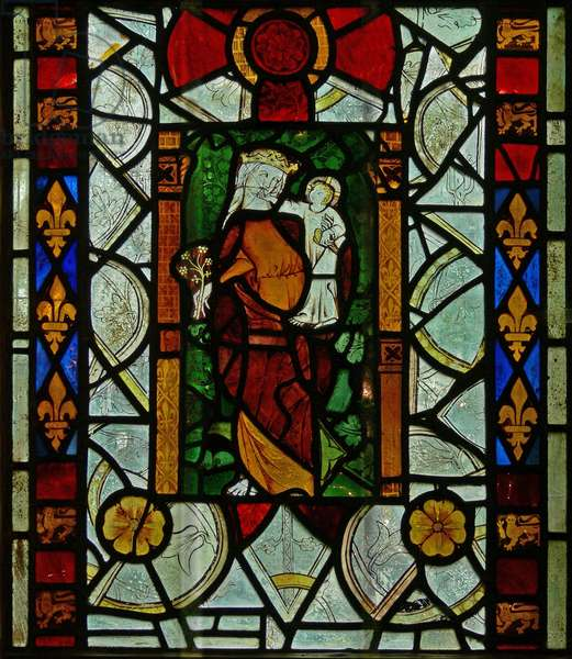The East window (Ew) depicting the Virgin Mary with Christ Child (stained glass)