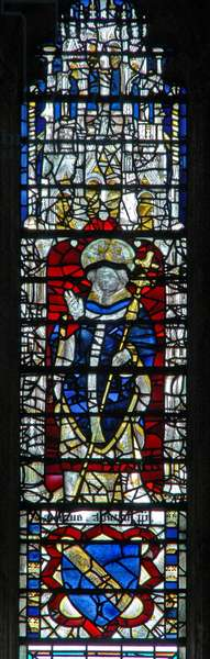 Window c19 depicting an archbishop (stained glass)