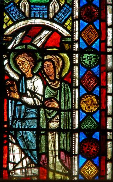 Window wXX depicting an angel and a saint (stained glass)