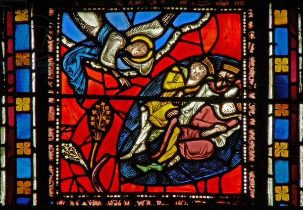 Window s2-C depicting the Magi are warned in a dream (stained glass)