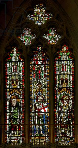 Window N2 depicting St Blaise, St George and a Pope (Leo?) (stained glass)