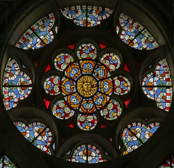Rose window with sun and geometric designs, 16th-20th century (stained glass)