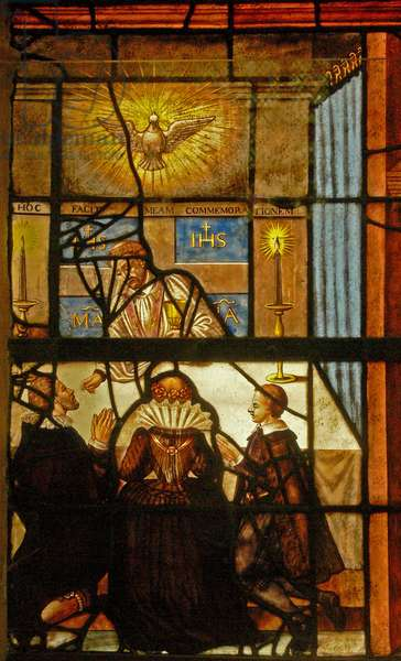 Window Charnier-6 depicting Easter / Holy Communion (stained glass)