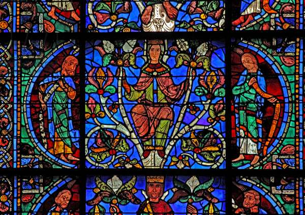 The Tree of Jesse: A prophet, the Virgin Mary, Daniel (w49) (stained glass)