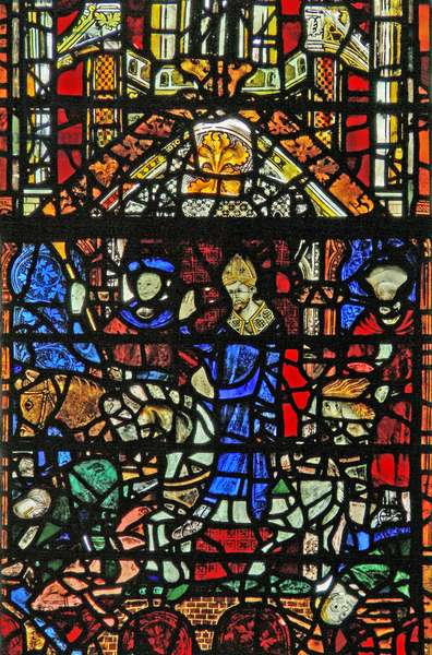 Window w31 depicting St William crossing the Ouse bridge (stained glass)