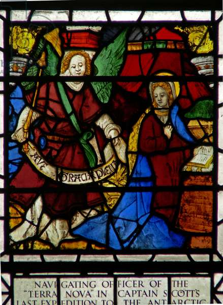 Window w36 depicting the Annunciation (stained glass)