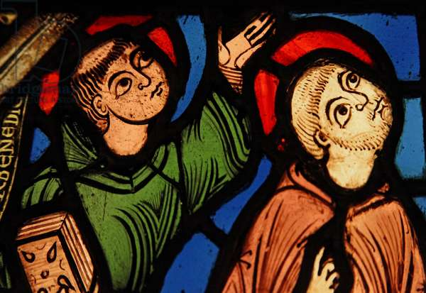 Depicting two monks at the ascension of St Bernard; ex St Denis (stained glass)