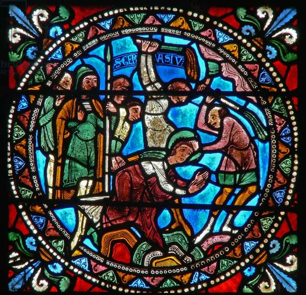 Window wXXI depicting the flagellation of St Gervais (stained glass)