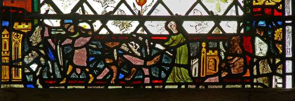 Window w40 depicting a border panel with animals and people (stained glass)