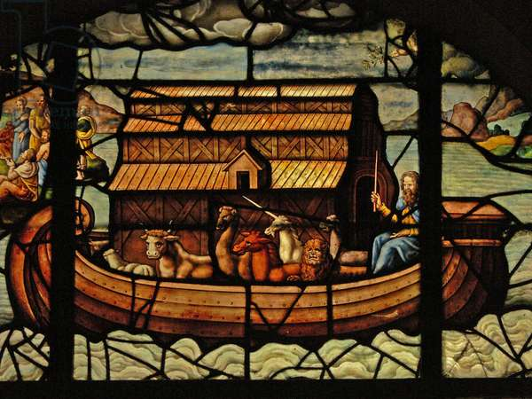 Window in the Charnier (w.3) depicting a Detail from Noah's Ark (stained glass)