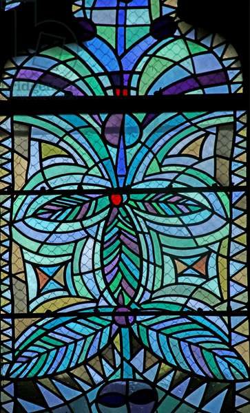 Detail of the Est Window of the South Chapel of the Gourney family (stained glass)