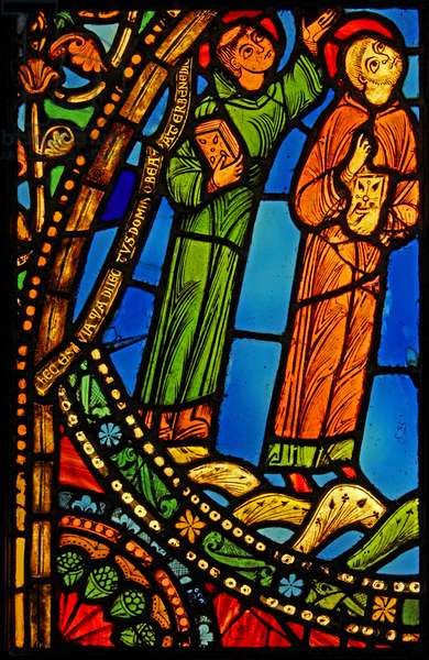 Depicting two monks at the ascension of St Benedict; ex St Denis (stained glass)