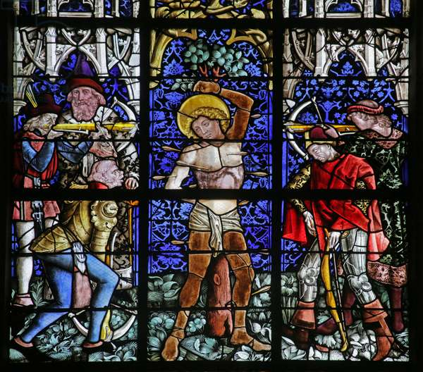 Window depicting the Martyrdom of Saint Sebastian (stained glass)