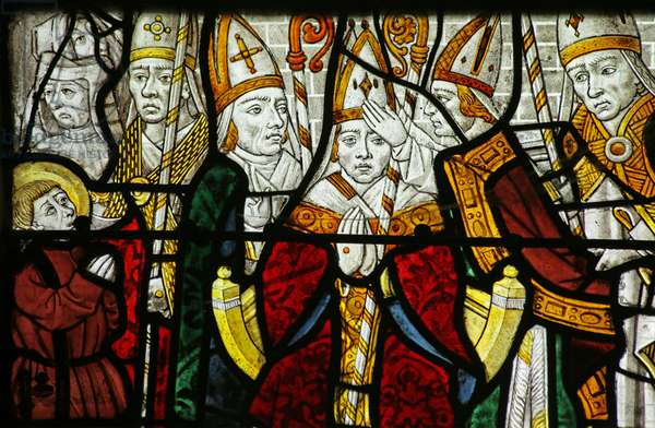 Window depicting a bishop, possibly St Nicholas, detail of 2921635 (stained glass)