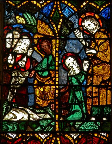 The east window depicting a Resurrection scene: the Holy Women at the Tomb; Mary Magdalene with Christ? (stained glass)