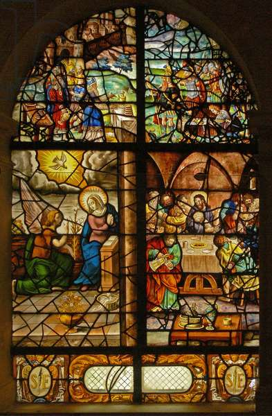 Window Charnier-12 depicting Melchisedek, Annunciation, Last Supper (stained glass)