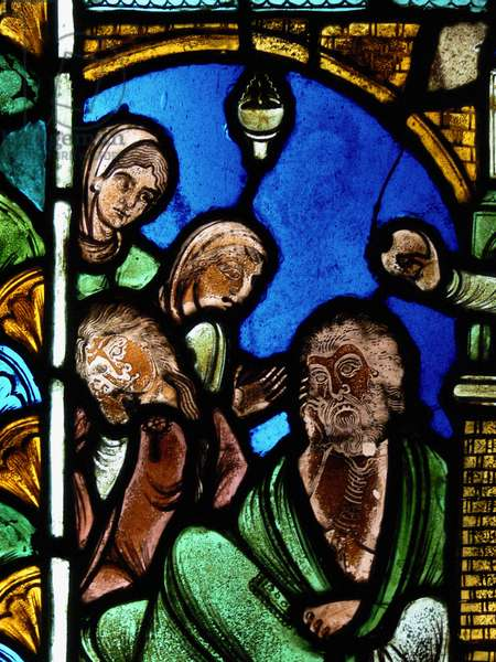 Depicting a scene from the Life of St Nicholas, ex Troyes Cathedral: the saint leaves money to a man thus preventing his daughters entering prostitution (stained glass)