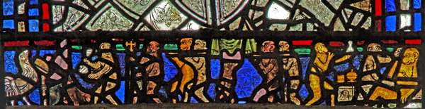 Window w40 depicting a border panel with the Monkey's Funeral (stained glass)