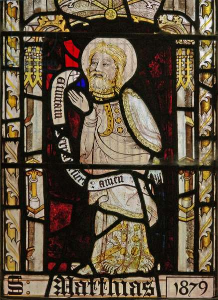 A north window depicting St Matthias (stained glass)