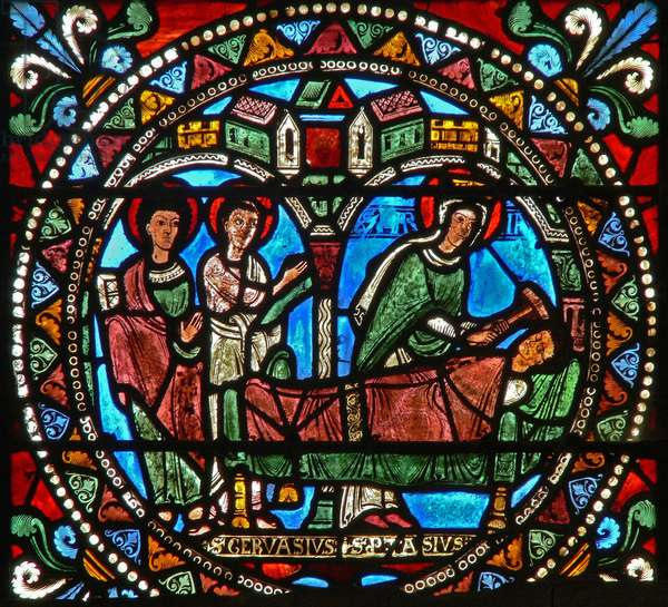 Window wXXI depicting the Virgin Mary at the death of the murderer of St Gervais and St Protais (stained glass)