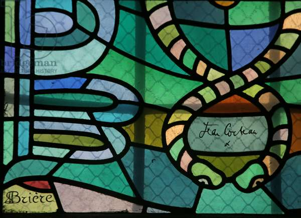 Detail of One of the Windows in the South Chapel of the Gourney family with Cocteau Signature (stained glass)