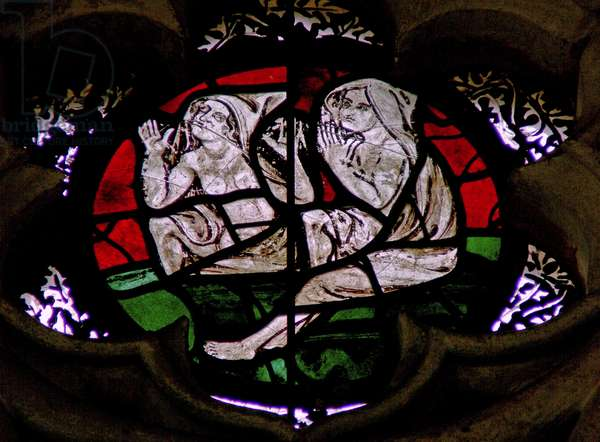 Window in the Chapter House depicting a scene from the Last Judgement: souls resurrecting (stained glass)
