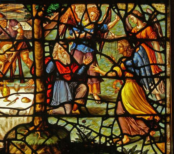 Window Charnier-13 depicting Abraham being visited by 3 angels (stained glass)