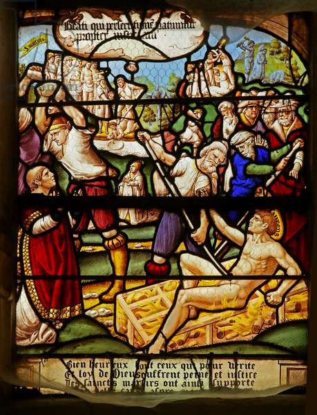 The Beatitudes: Blessed are those who suffer persecution for righteousness sake: the martyrdom of St Stephen and St Laurence (stained glass)