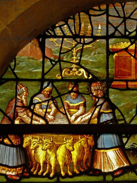 Window Charnier-7 depicting the washing of hands before entering the temple (stained glass)