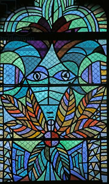Detail of the Est Window of the South Chapel with portrait of Jean Cocteau (stained glass)