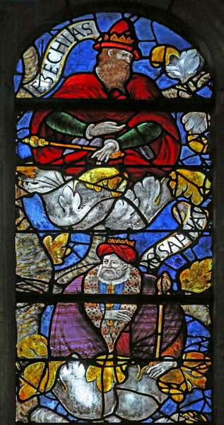 Window w3 depicting the Tree of Jesse: Hezekiah and Jehosaphat (stained glass)