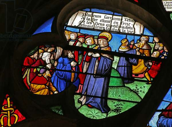 St Louis performing good deeds: Liberating prisoners in Syria (stained glass)