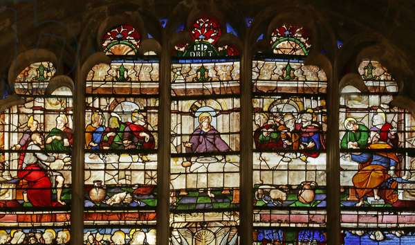 Window depicting the Last Supper (after Raimondi , Raphael)  (stained glass)