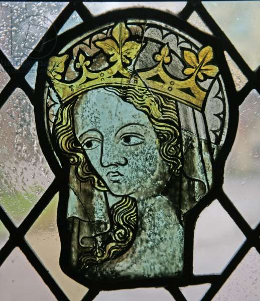 Window in the Cloisters depicting a female head (sainted and crowned) (stained glass)