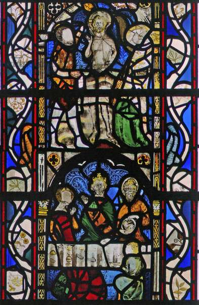 Window w43 depicting St John the Baptist at the Baptism of Christ in the River Jordan (stained glass)