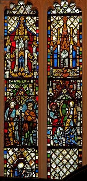 Window Ew depicting St Peter and St Paul; the Annunciation (stained glass)