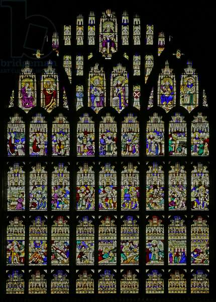 The story of St Laurence is recounted in 27 panels (stained glass)