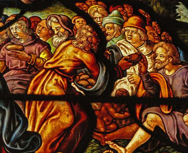 Window in the Charnier (w.4) depicting the Feeding of the 5000 (stained glass)