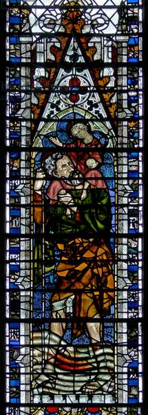 Window w2 depicting St Christopher (stained glass)