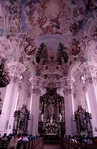 Rococo interior of the church, begun in 1727 (photo)