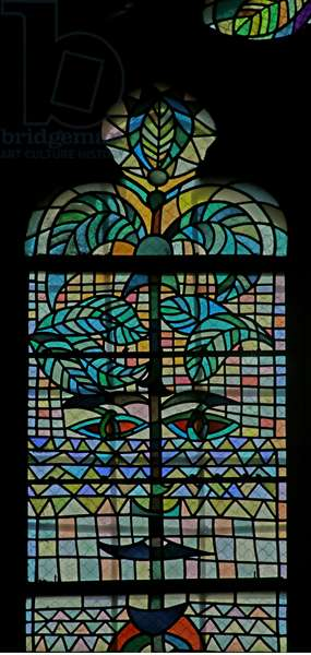Detail of one of the windows in the South Chapel of the Gourney Family  evoking Demeter (stained glass)