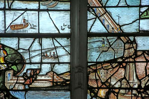 Window w12 depicting Building the bridge over the Seine (stained glass)