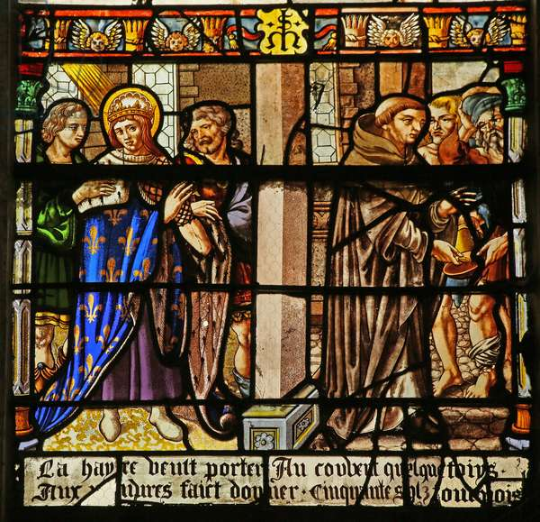 The St Louis window: Louis performs pennance and gives alms to the monks... (stained glass)