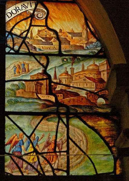 Window in the Charnier (w.13) depicting Two scenes: Killing the pig: Abraham being visited by 3 angels (stained glass)