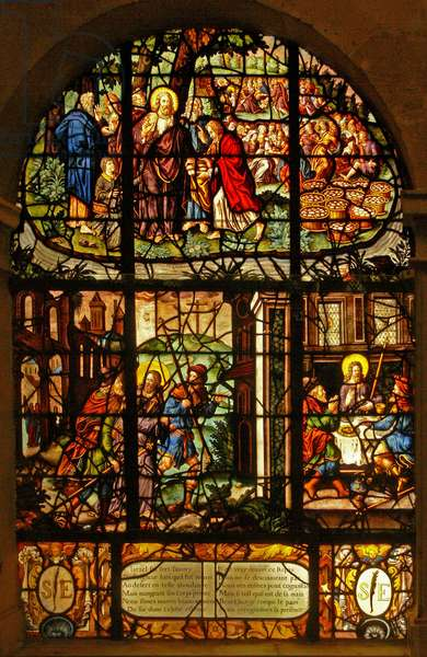 Window in the Charnier (w.4) depicting the Feeding of the 5000 and the meeting and supper at Emmaus (stained glass)