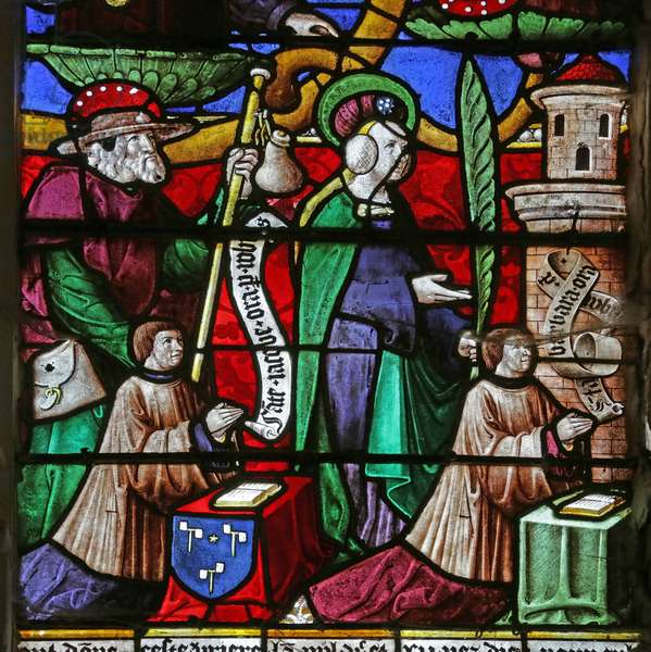 Window depicting the Tree of Jesse: Jacques Prénel and Barbe Laurendel with Saint James and Saint Barbara (stained glass)