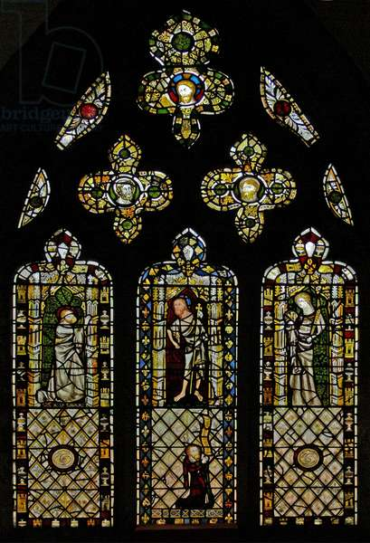 Window n2 depicting St Thomas, Christ, St John and donor (stained glass)