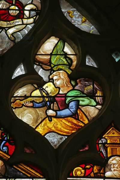 Window depicting Angel musician with viol, 16th-20th century (stained glass)