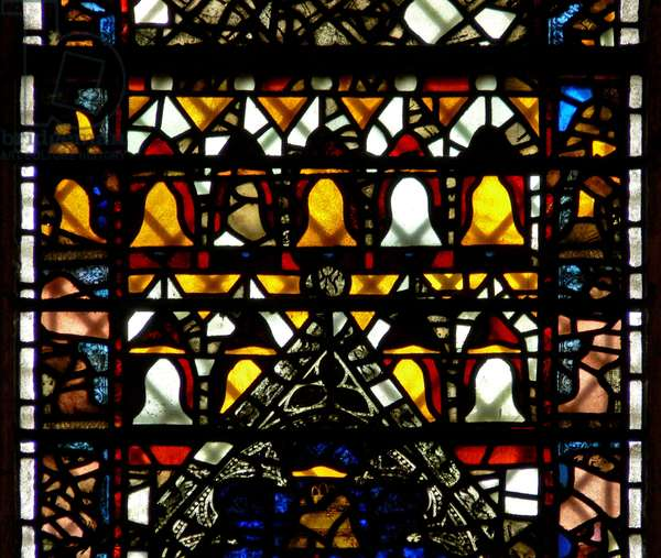 Window w41 depicting bells (stained glass)